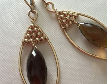 Gold-filled earrings with gold-filled beads and smokey quartz/ wire wirewrapped earrings