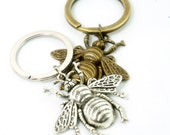 Queen Bee Keyring - Antiqued Brass or Antiqued Silver - Vintage Style Key Ring - Party Gift Idea
