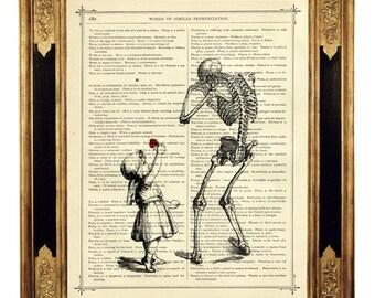 Girl gives sad Skeleton a Rose Flower - Vintage Victorian Book Page Art Print Steampunk Gothic