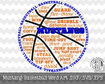 Mustang Basketball Word art File INSTANT DOWNLOAD in dxf/svg/eps for use with programs such as Silhouette Studio and Cricut Design Space