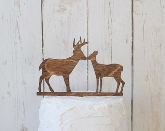 Kissing Buck and Doe Wedding Cake Topper Rustic Wedding Cake Topper Wood Cake Topper #DownInTheBoondocks