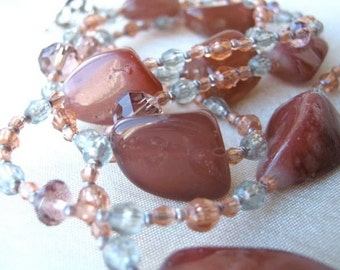 Old rose stones long necklace and earrings set - brownish-pink natural stone, grey