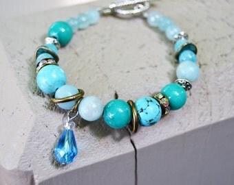 TURQUOISE TEAL JADE Amazonite Toggle Bracelet with Crystal Teardrop Charm