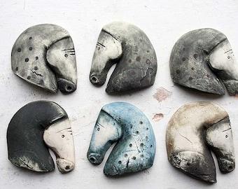 Etruscan horse porcelain brooch