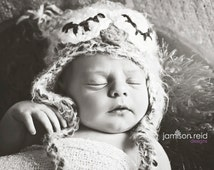 Sleepy Baby Owl Hat Photo Prop or Halloween Costume-Crocheted in your choice of colors