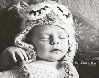 READY TO SHIP Sleepy Baby Owl Hat Photo Prop or Halloween Costume-Crocheted in your choice of colors