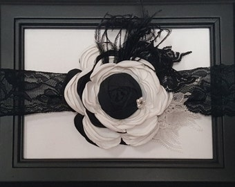Black and White Flower Ostrich Feather Vintage Lace and Pearl Headband Shabby Chic  Infant Toddler Child Adult