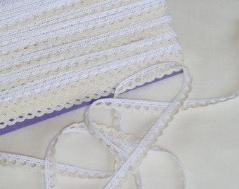 1/4 Inch White and Ecru Cotton Lace Trim/Edging