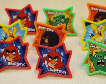 Angry Birds Why So Angry Cupcake Rings/ Cupcake Decorations