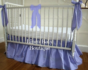 Lilac Linen Baby Bedding Crib Bedding. Washed Linen Crib Skirt.