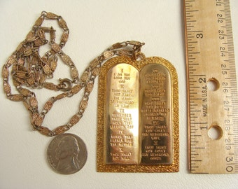 Rare vintage antique Big Gold Metal or Brass TEN COMMANDMENTS TABLETS Pendant on Old Hammered Paperclip Chain Necklace Priest Nun Jewelry