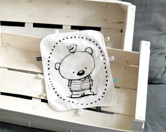 Lovey with teddy bear Baby Taggy Taggie blanket Baby comforter Comfort blanket Sleep cloth  White black Scandinavian style Monochrome