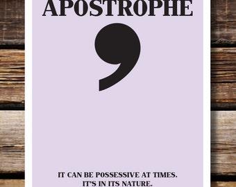 Grammar English Humor Wall Decor, Respect Punctuation: Apostrophe