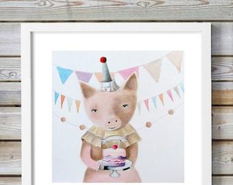 Baby Girl Nursery Art, Pig Nursery Art, Girl Room Poster, Nursery Print, Pig, Farm Animal Nursery, Illustration, Illustration Girls Room
