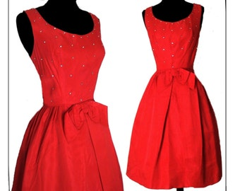 Vintage 1950s Dress//Red//Rhinestone// Party Dress//50s Dress