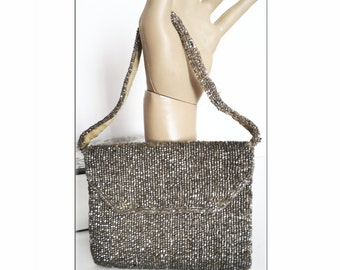 Vintage 1930s Handbag//30s Evening Purse//Silver Beaded