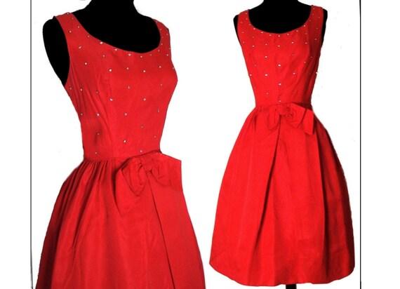 Vintage 1950s Dress//Red//Rhinestone// Party Dress//50s Dress