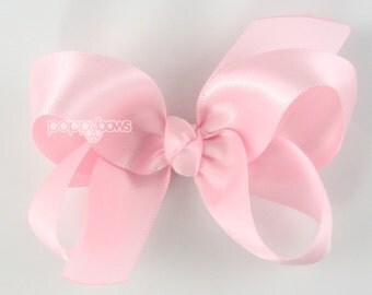 Satin Hair Bow - 3 inch hair bow, light pink hair bow, silk hair bow, girls hair bows, toddler hair bow, baby hair bow, boutique bows 3""