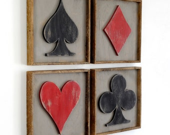 Framed Playing Card Set Four Piece Set Game Room Decor Poker