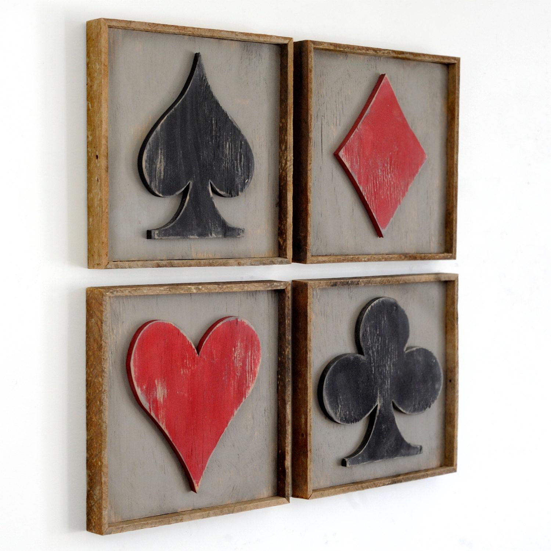 Framed Playing Card Set Four Piece Set Game Room Decor Poker