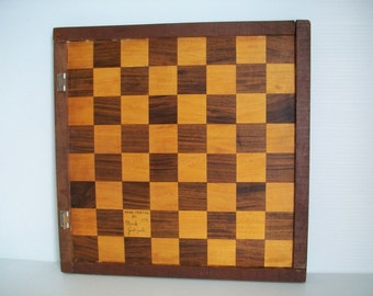 single vintage game board | 1970s rustic chess board | retro decor | rustic game decor | vintage chess board wood chess board | rustic wood