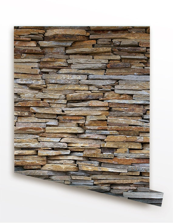 Stone panel seamless wall paper removable peel and by for Removable wallpaper wood paneling