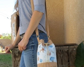 ON SALE Beach-Perfect Shell Printed Bucket Bag with Tan Accents