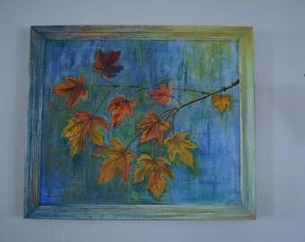 Original Autumn Leaves Painting Vintage