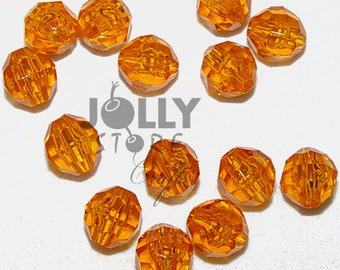 6mm Round Faceted Beads - Light Topaz Translucent - 500 piece bag