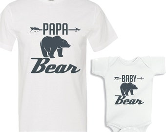 Papa Bear - Baby Bear White Shirts Daddy and Me Shirt Set