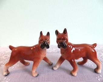 Vintage Salt and Pepper Shakers: Relco Boxer Dog Salt & Pepper Shaker Set