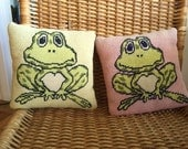 Funny Vintage Needlepoint Frog Pillows