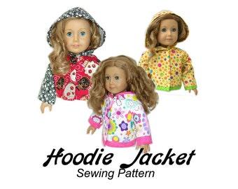 American Girl Doll Clothes Pattern 18 inch Doll pattern PDF Hoodie Jacket girl doll boy doll