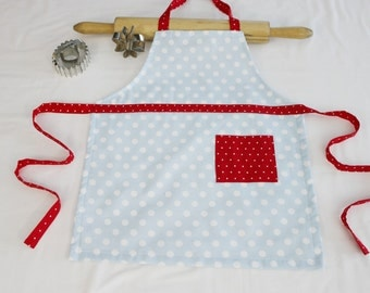 Light Blue and Red Polka Dotted Child Apron