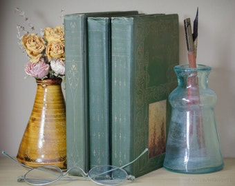 Set of Three Green Color Embossed Antique Books