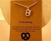 Pretzel Necklace: Silver Tone Twisted Pretzel Wish Necklace, Wish Jewelry, Best Friends, Best Friend Necklace, Pretzel Necklace