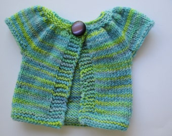 Doll Sweater, Hand knit wool, fits 12 inch Waldorf style dolls