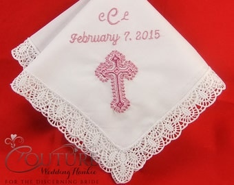 Baptism Gift for Goddaughter Personalized Handkerchief |Baptism Gift for Girl | Christening Hanky H401