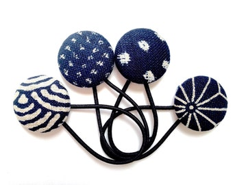 Indigo Blue and Cream Ponytail Holders - Beautiful Blues Japanese style textured Fabric Covered Button Hair Ties set of Four Large