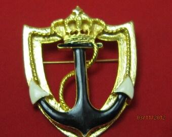 Gold Tone Sea Anchor Crown Brooch
