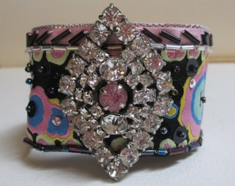 Cuff Bracelet Pink/Black w/Vintage Components