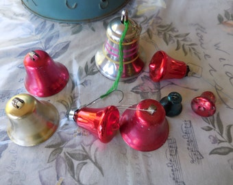 Vintage 1950s to 1960s Glass/Plastic and Aluminum Bell Ornaments Christmas Decorations Set of 8