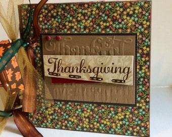 Thanksgiving scrapbook premade pages chipboard book- 6 x 6 scrapbook album memories