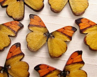 """Autumn Butterfly: 1-1/8"""" (28mm) Wooden Buttons - Set of 7 New/Unused Matching Buttons"""