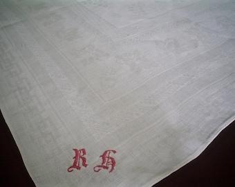 Antique Damask Linen Tablecloth with Red Monogram Vintage European Leaf Design Table Linen