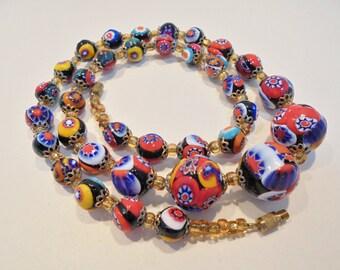 "Vintage Venetian Murano Moretti Millefiori Glass Bead Necklace 20.5"" Flowers Floral Multi Colored Art Deco"