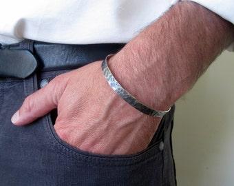 Sterling silver mens cuff bracelet, Oxidized silver bracelet, Mens jewelry