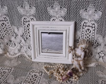 Petite Romantic Cottage Square wood Mirror, creamy White, distressed, Rustic chic