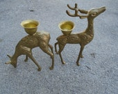 Vintage Brass Deer Candle Holders Pair Woodland Candlestick Mid Century Home Decor Bohemian Buck and doe figurine