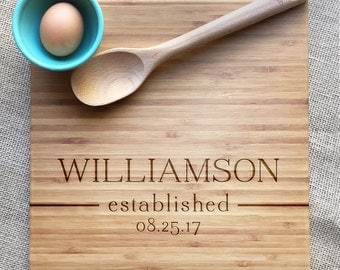Wedding Cutting Board Personalized With Name And Established Date, Bamboo Wedding Or Anniversary Gift, Personalized Cutting Board